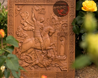 Saint George and the dragon (1) Christian holy icon 3D Art Orthodox Wood Carved religious - Large