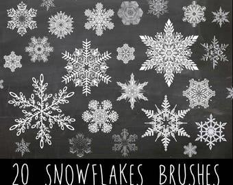 20 Snowflakes Photoshop Brushes - Snowflakes Silhouettes - Beautiful Photoshop Brushes - Christmas Brushes - Xmas Brushes