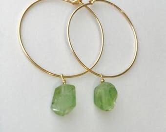 Tiny Peridot Earrings  Raw Peridot Earrings Peridot Earrings  August Birthstone August Birthday Hoop Earrings