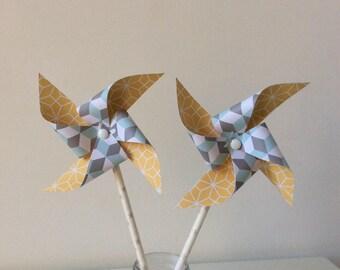 Mustard & blue windmills