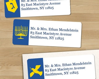 "Printable Hanukkah Symbols Return Address Labels, Blue and Yellow, 30 Personalized 2 5/8"" x 1"" Labels, Editable PDF, Instant Download"