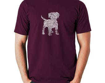 Puppy T-shirt, Dog Lover, Fingerprint, Cute, Animal Lover, Pet, Doggy, Silkscreen, Hand Printed, Cotton tee, Gift for pet lover