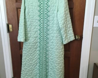 Vintage housecoat quilted green Sears retro sleepware funky long size 14 clothes