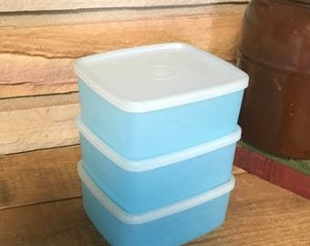 Vintage Tupperware 311 blue sandwich container lunch plastic retro storage decor snack kids kitchen bowl pantry picnic camping school