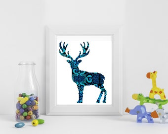 Scandinavian ornament cross stitch pattern deer, ornament cross stitch pattern, animal cross stitch, mosaic cross stitch PDF
