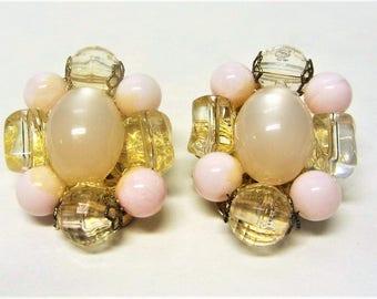 Vintage Pink Moonglow Cluster Clip On Earrings 1960s Plastic Bead Bridal Jewelry
