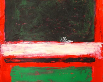 """Red Green Rothko Inspired Color Block Original Painting on Paper 18x24"""" Textured Rustic Bright with Dark Large Block at Top Bands White Art"""