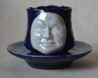 Holographic Moon Face Mini Tea Cup Planter