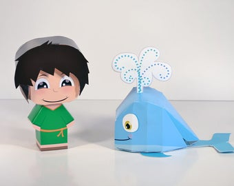 Jonah and the Whale Favor Box - Bible Favor Boxes, Candy Box, Bible Stories, Birthday Party, Cookie Box