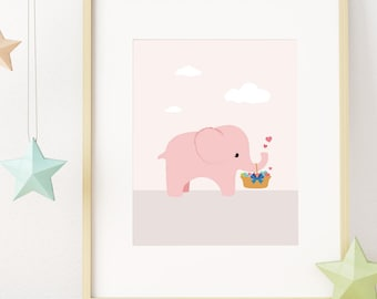 Elephant Print, Nursery Wall Art Print, Baby Girl Room Decor, Pink Printable Wall Art, Pastel Colors Kids Printable Art, Instant Download