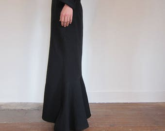 Long skirt Yohji Yamamoto 90 s Vintage 1990 Design Japan / / 100% wool / / fish tail / / Gothic Punk Rock / / T2 38 GB
