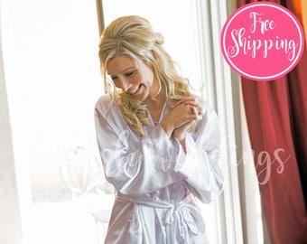 SOLID SATIN ROBE - White Satin Robe - Satin Bridal Robe - Dressing Gown - Bride Robe - Spa Robe - Satin Lingerie - Satin Wedding Robe