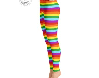Rainbow Striped Leggings | Wild Leggings | Festival Leggings | Unique Leggings | Roller Derby Leggings | Yogawear | Yogagear | Loopy Jayne