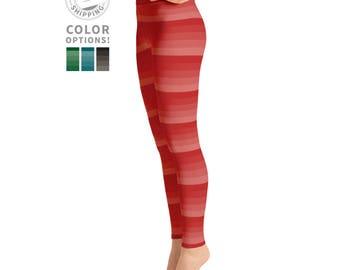 Red Striped Yoga Pants | Yoga Tights | Pilates Leggings | Yoga Leggings | Yogi Gift | Yoga Leggins | Yogawear | Yogagear | Loopy Jayne