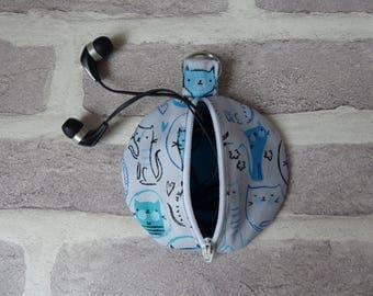 blue cat earphone organizer, cat headphone case, handbag tidy, cat lover, earbud case
