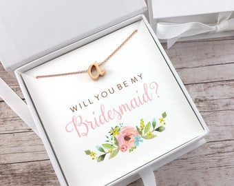 Bridesmaid Proposal Gift, Will You Be My Bridesmaid, Rose Gold Initial Necklace, Dainty Necklace, Maid of Honor Proposal - (FPS0013)