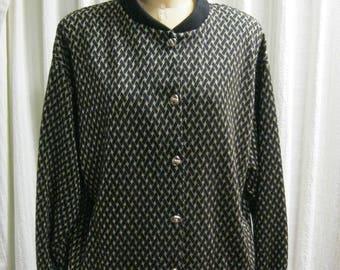 Vintage GRAFF Cardigan Sweater- Black Gold Basketweave Pattern - Size 14 - Made in USA