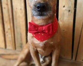 Christmas Dog Bandana, Christmas Dog Collar, Holiday Dog Bowtie, Christmas Dog outfit, Christmas Dog Clothes, Dog Party Outfit, Xmas Costume