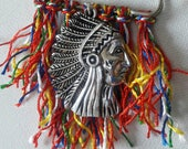 Cardigan clasp, Indian chief head on multicolor tassels pin