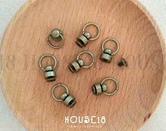 Screw Back Round Head Rivet Stud with O Ring 20 Sets | Antique Bronze