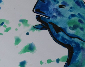 Narwhal watercolour on watercolour paper