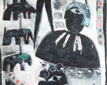 Outsider Art Black and White Elephant and Women
