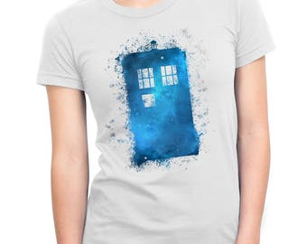 Watercolor Spatter Tardis from Doctor Who Adult Shirt