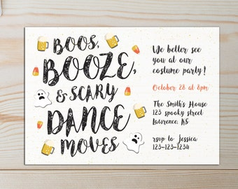 Halloween Party Adult Invitations/Boos and Booze/Dance Moves/Costume Party/Black and Orange/Scary/Halloween Invites/Printable PDF/Modern