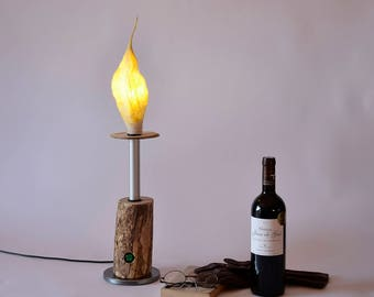 Candle light, Table Lamp, Modern Lighting, Lamp, Desk Lamp, Gift for home, Stylish Lamp, Birthday gift for man or woman, Wood and felt lamp