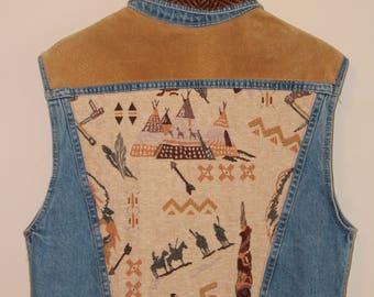 90's Denim Vest with Native American Print