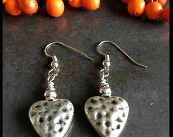 Earrings, heart, hammered, silver metal, boho, drop, dangle, valentines gift, gift for her, ladies earrings