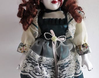 Hand painted art horror porcelain doll collectable only 1 made. demon, missing eye, Supernatural inspired gothic possessed doll Ooak doll
