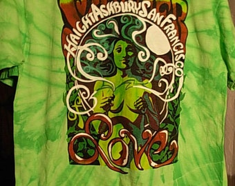 Rainbow Tye Dye with original Summer of Love Toking Lady design silk screen print