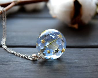 Forget me not Resin pendant - Real Forget me not necklace -Flower jewelry - Real Forget me not flowers in ball pendant
