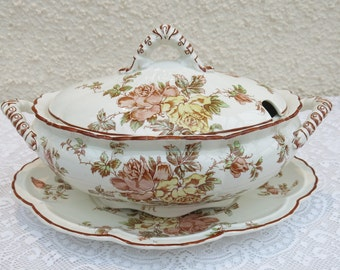 Victorian China Lidded Soup Tureen and Saucer by Keeling & Co, Staffordshire, England - Rose Design