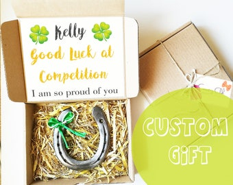 Personalized Good Luck Gift - Competition Signs, Lucky Charm, Good Luck Horseshoe, Four Leaf Clover, Best Of Luck, Real Iron Horse shoe