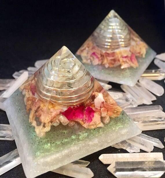 Cleansing Orgonite® Pyramid Pair with Rose Petals- Renewal- Chakras- HImalayan Salt- Sacred Feminine- Moon Cycles- Reiki Prehenite Pyramids