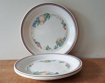 Corelle Abundance Lunch Plates~Set of 4 Salad plates~ Fruit Bordering Plate~Red/Blue Edging~Corelle glass~Made in the USA.