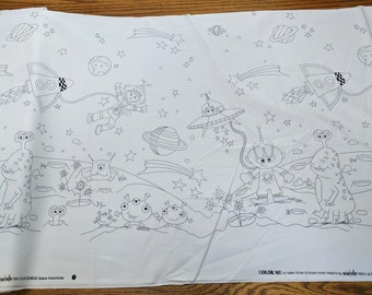 Space Adventures Color Me Cotton Fabric (DC6808) from Michael Miller