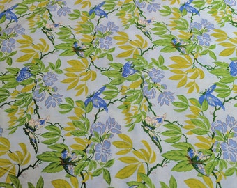 Glorious Garden-Light Blue Butterfly Cotton Fabric designed by April Cornell for Free Spirit Fabrics