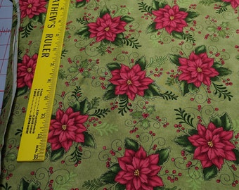 Do You See What I See?-Poinsettia on Green Cotton Fabric from Henry Glass