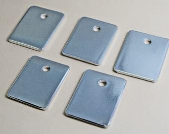 "Five, Ten or Twenty - Five Mini Wide Aluminum Keychain Blanks - 3/4"" x 1"" - 14g, 1100 Food Safe Aluminum"