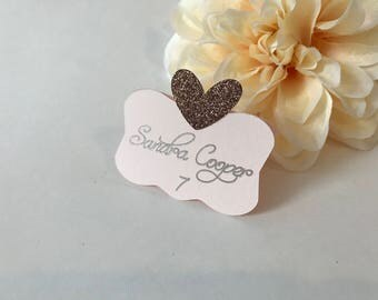 Blush Place Cards, Blush Pink Place Cards, Bronze Place Cards, Wedding Place Cards, Custom Place Cards, Personalized Place Cards, Blush