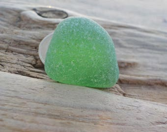 "Genuine Perfectly smoothed flawless Green Sea Glass piece-Size 0.9""-Curved seaglass-Jewelry quality-Pendant size Sea Glass#J246#"