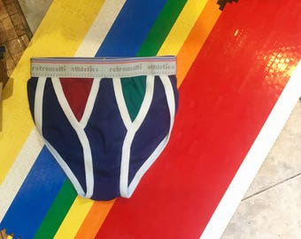 Retro new school string bikini briefs in RGB Red Green & Blue