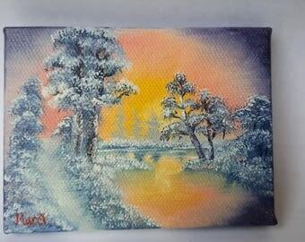 "Original Oil Painting, Miniature, Bob Ross Style, 4"" x 3"", signed, ATC"
