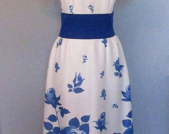 Mid-Summer Sale 20%OFF Blue and White Rose Print Maxi Dress