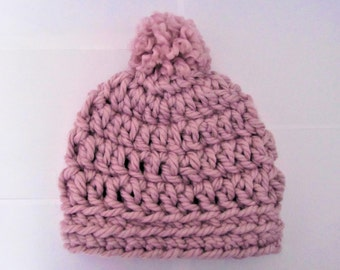 Over-sized Beanie Crocheted with Pom Pom - Handmade