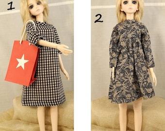BJD, MSD, Doll outfit, Doll clothes, Doll dress, BJD plaid dress, black and white dress.