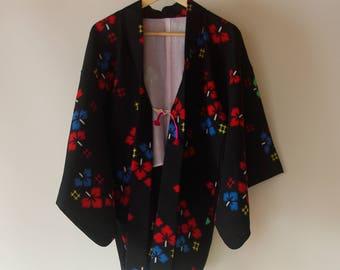 Vintage Japanese Kimono Haori / Black base clover pattern / Kimono wool jacket